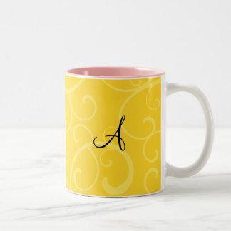 Monogram yellow swirls coffee mugs