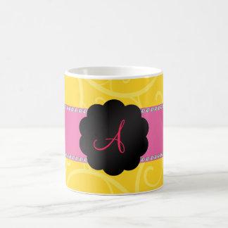 Monogram Yellow swirls Mug