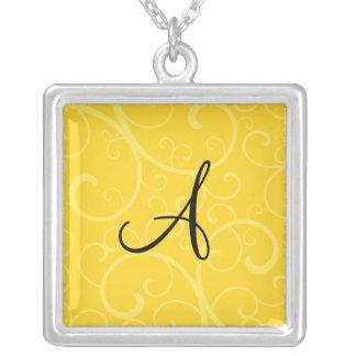 Monogram yellow swirls pendant