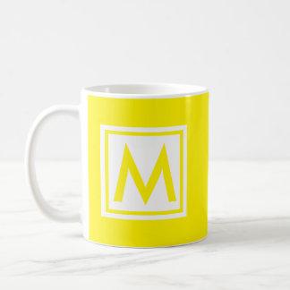 Monogram Yellow Trendy Simple Color Square Custom Coffee Mug