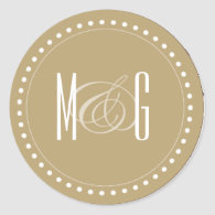 Monogram Yellow Wedding Sticker
