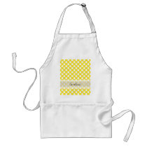 Monogram Yellow White Trendy Fun Polka Dot Pattern Adult Apron