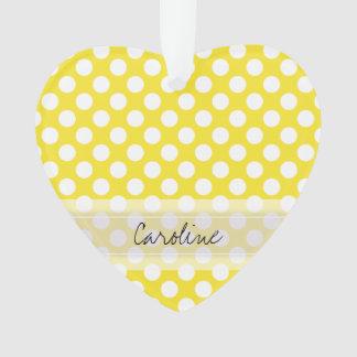 Monogram Yellow White Trendy Fun Polka Dot Pattern