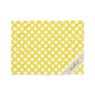 Monogram Yellow White Trendy Fun Polka Dot Pattern Fleece Blanket