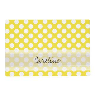 Monogram Yellow White Trendy Fun Polka Dot Pattern Placemat