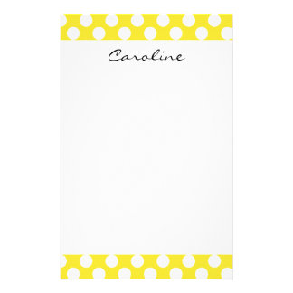 Monogram Yellow White Trendy Fun Polka Dot Pattern Stationery