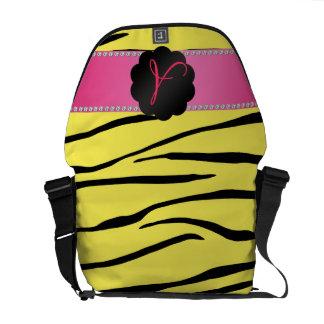 Monogram yellow zebra stripes messenger bags