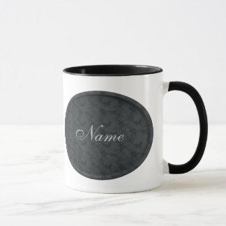 Monogram Your Name Black Floral Mug