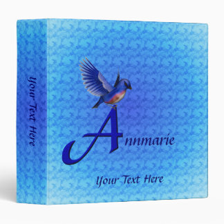 Monogram Your Name Initial A Bluebird Binder