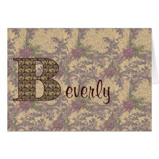 Monogram Your Name Initial B Elegant Floral Card