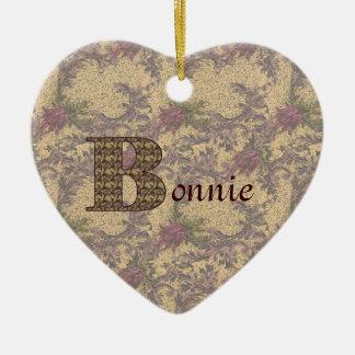 Monogram Your Name Initial B Elegant Floral Orname Ceramic Ornament