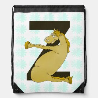 Monogram Z Agile Pony Personalized Drawstring Bag