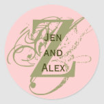 Monogram Z and Names Pink Sticker