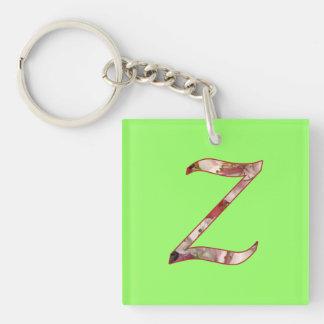 Monogram Z Floral Design Keychain