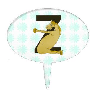 Monogram Z Funny Pony Customized Cake Topper