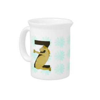 Monogram Z Funny Pony Customized Drink Pitcher