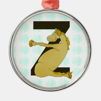 Monogram Z Funny Pony Customized Metal Ornament