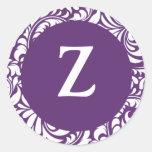Monogram Z Plum Color Wedding Theme Monograms Seal Classic Round Sticker