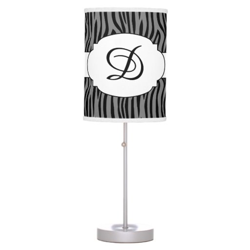 Monogram Zebra Pattern Print Lamp Any color!