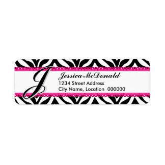 Monogram Zebra Print and Pink Lace Label