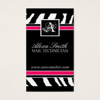 Monogram Zebra Print  Business Card