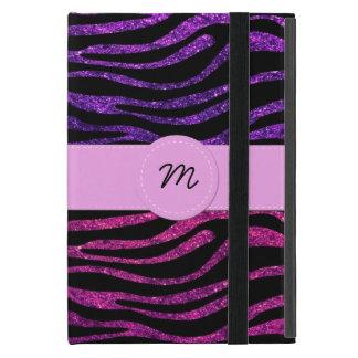 Monogram - Zebra Print, Glitter - Pink Purple Cover For iPad Mini