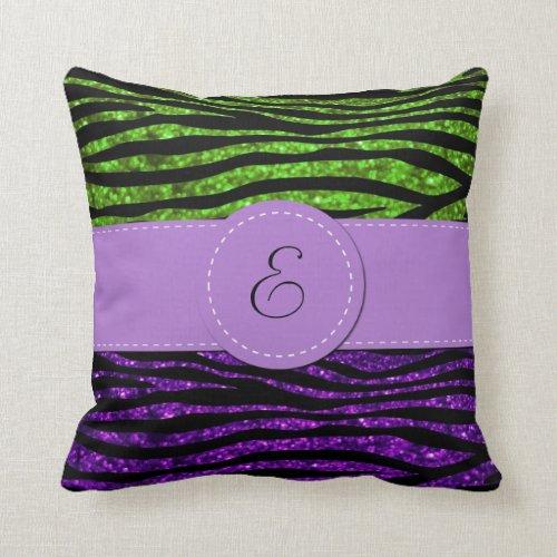 Monogram - Zebra Print, Glitter - Purple Green Pillows