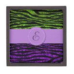 Monogram - Zebra Print, Glitter - Purple Green Premium Gift Box