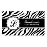 Monogram Zebra Print Hair Stylist Hairdresser Business Cards
