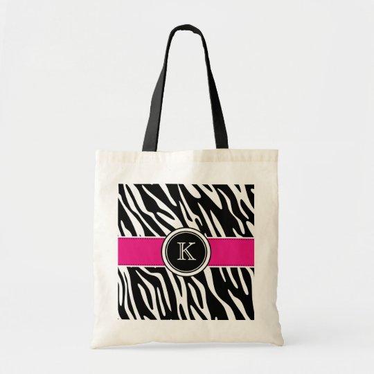 Monogram Zebra Print with Pink Tote Bag