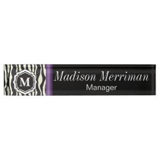 Monogram Zebra Purple Bar Name Plate