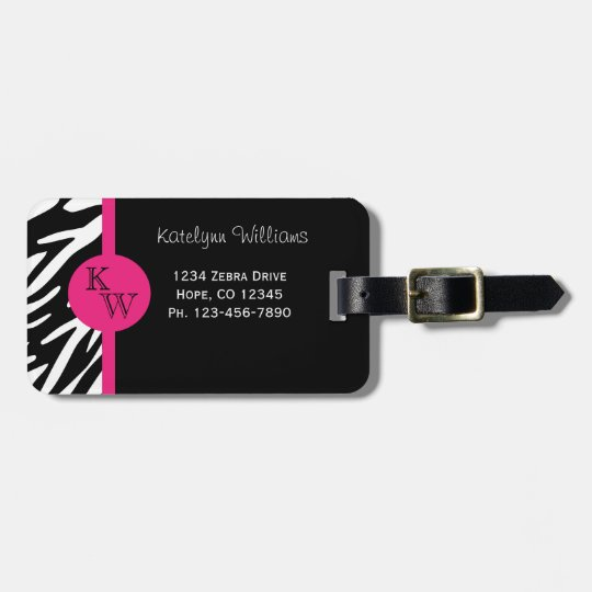 Monogram Zebra Stripe with Pink Luggage Tag