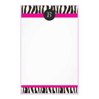 Monogram Zebra Stripes Customizable Stationery
