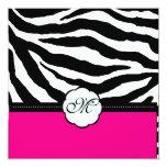 "Monogram/Zebra Stripes Wedding Invitations 5.25"" Square Invitation Card"