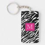 Monogram Zebra Stripes with Pink Acrylic Keychain
