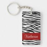 Monogram Zebra Stripes with Red Acrylic Keychain