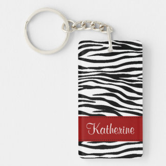 Monogram Zebra Stripes with Red Acrylic Keychain