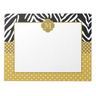 Monogram Zebra with Gold Polka Dot Pattern Notepad