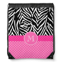 Monogram Zebra with Hot Pink Polka Dot Pattern Drawstring Bag