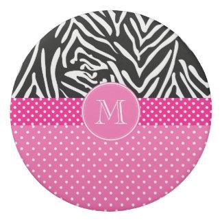 Monogram Zebra with Hot Pink Polka Dot Pattern Eraser