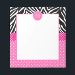 """Monogram Zebra with Hot Pink Polka Dot Pattern Notepad<br><div class=""""desc"""">Girly monogrammed black and white zebra with hot pink and white polka dot pattern notepad. The design features a black and white zebra pattern and small white polka dots on hot pink. In the middle there is a hot pink circle with your custom initial.</div>"""