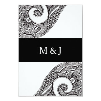 Monogram Zentangle Ornament Wedding RSVP Card Personalized Announcements
