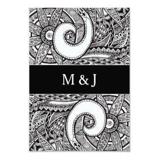 Monogram Zentangle Ornament Wedding RSVP Card Personalized Announcement