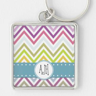 Monogram - Zigzag (Chevron) - Green Blue Pink Silver-Colored Square Keychain