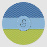 Monogram - Zigzag (Chevron) - Green Blue Classic Round Sticker
