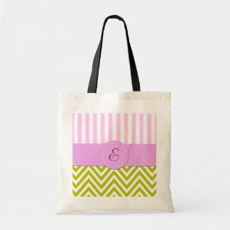 Monogram - Zigzag Chevron - Green Pink White Bags