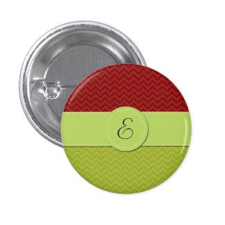 Monogram - Zigzag (Chevron) - Green Red Pinback Buttons