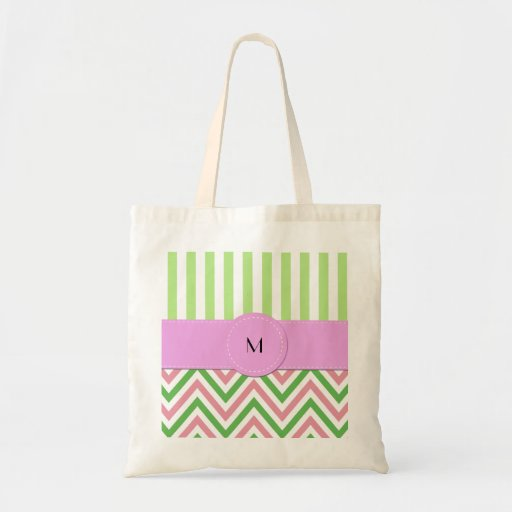 Monogram - Zigzag (Chevron), Lines - Green Pink Bag