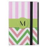 Monogram - Zigzag (Chevron), Lines - Green Pink Cases For iPad Mini