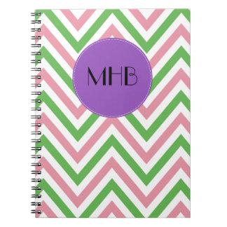 Monogram - Zigzag (Chevron), Lines - Green Pink Note Books